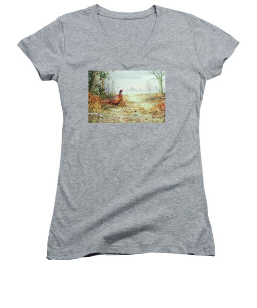 Cock Pheasant  Women's V-Neck T-Shirt (Junior Cut) by Carl Donner