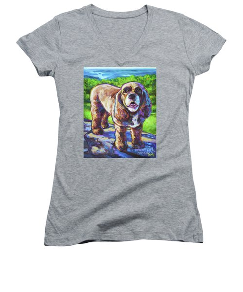 Women's V-Neck T-Shirt (Junior Cut) featuring the painting Cocker Spaniel  by Robert Phelps