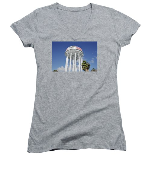 Cocoa Water Tower With American Flag Women's V-Neck