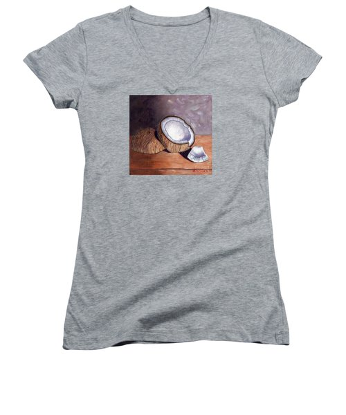 Coconut Anyone? Women's V-Neck T-Shirt (Junior Cut) by Laura Forde