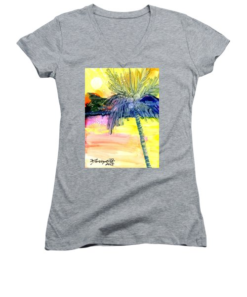 Women's V-Neck T-Shirt (Junior Cut) featuring the painting Coconut Palm Tree 3 by Marionette Taboniar