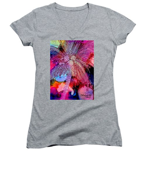 Women's V-Neck T-Shirt (Junior Cut) featuring the painting Coconut Palm Tree 4 by Marionette Taboniar
