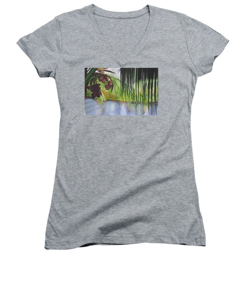 Women's V-Neck T-Shirt (Junior Cut) featuring the painting Coconut Tree by Teresa Beyer