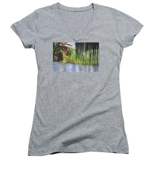 Coconut Tree Women's V-Neck T-Shirt (Junior Cut) by Teresa Beyer