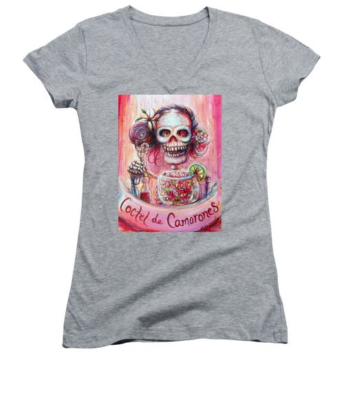 Women's V-Neck T-Shirt (Junior Cut) featuring the painting Coctel De Camarones by Heather Calderon