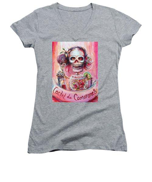 Coctel De Camarones Women's V-Neck T-Shirt (Junior Cut) by Heather Calderon
