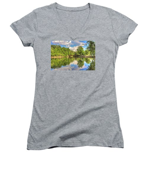 Women's V-Neck T-Shirt (Junior Cut) featuring the photograph Coe Lake by Brent Durken