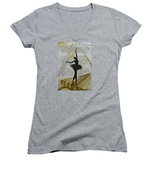 Women's V-Neck T-Shirt (Junior Cut) featuring the painting Coffee Ballerina by AmaS Art