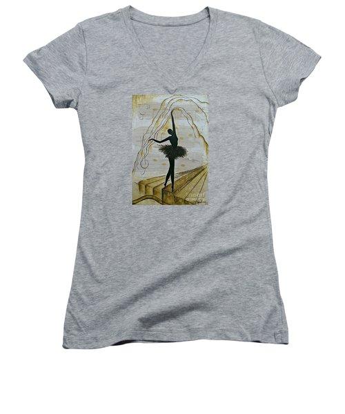 Coffee Ballerina Women's V-Neck T-Shirt (Junior Cut) by AmaS Art