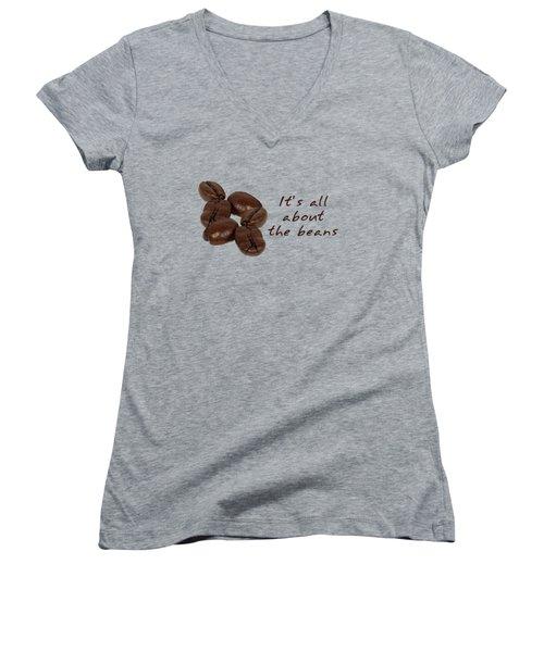 Coffee Bean Fun For Coffee Lovers Women's V-Neck T-Shirt