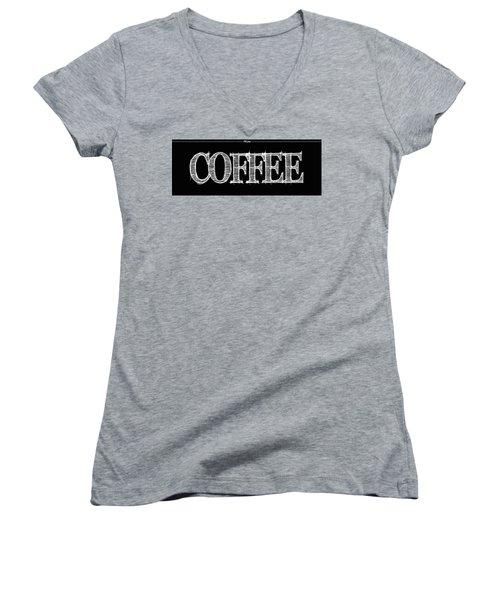 Coffee Fill Line Mug Women's V-Neck T-Shirt (Junior Cut) by Robert J Sadler