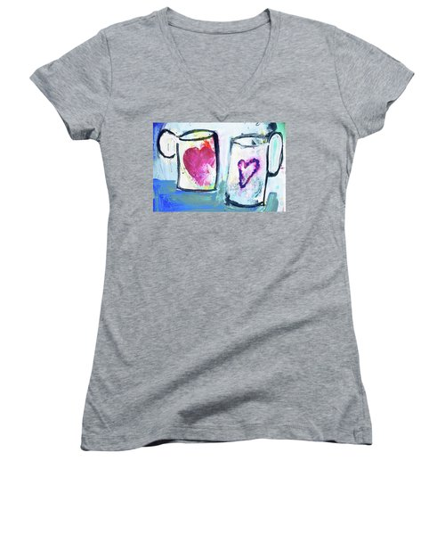 Coffee With Love Women's V-Neck T-Shirt (Junior Cut) by Amara Dacer
