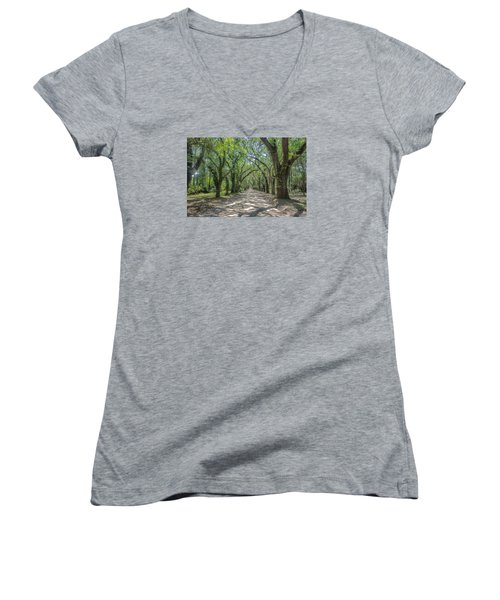 Women's V-Neck T-Shirt (Junior Cut) featuring the photograph Coffin Point Roadway by Patricia Schaefer
