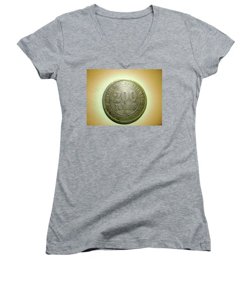 Women's V-Neck T-Shirt (Junior Cut) featuring the photograph Coin Series - Brazil by Beto Machado