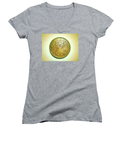 Women's V-Neck T-Shirt (Junior Cut) featuring the photograph Coin Series - England by Beto Machado