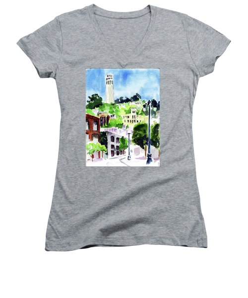 Coit Tower From The Embarcadero Women's V-Neck T-Shirt