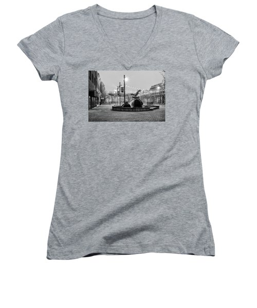 Cold And Foggy Morning Women's V-Neck T-Shirt (Junior Cut) by Monte Stevens