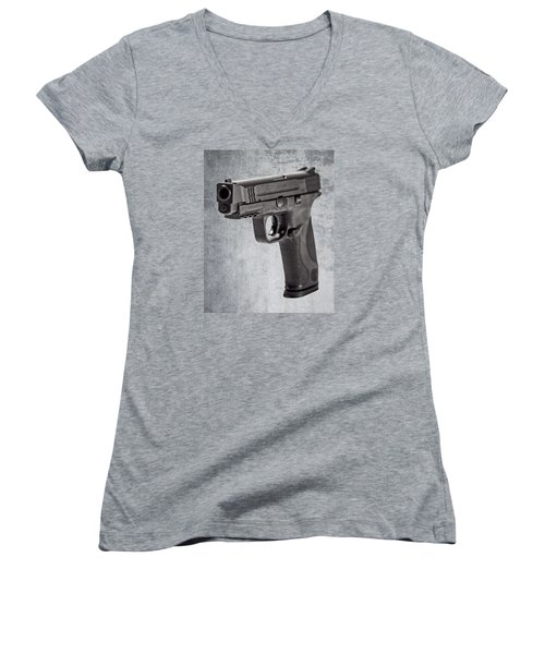 Women's V-Neck T-Shirt (Junior Cut) featuring the photograph Cold, Blue Steel by Andy Crawford