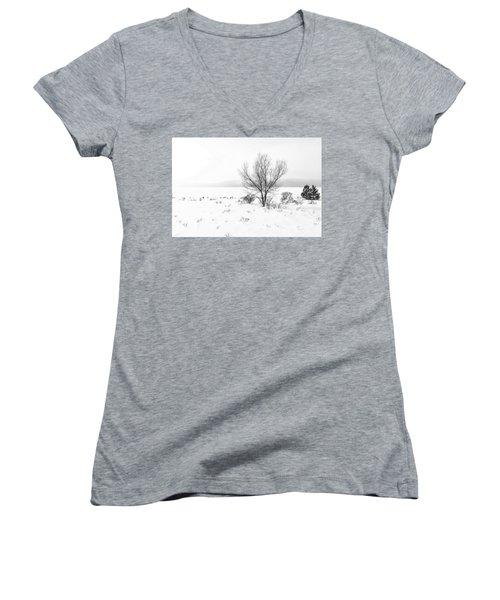 Cold Loneliness Women's V-Neck T-Shirt (Junior Cut) by Hayato Matsumoto