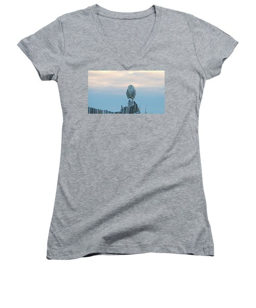 Cold Morning Light Women's V-Neck T-Shirt (Junior Cut) by Stephen Flint