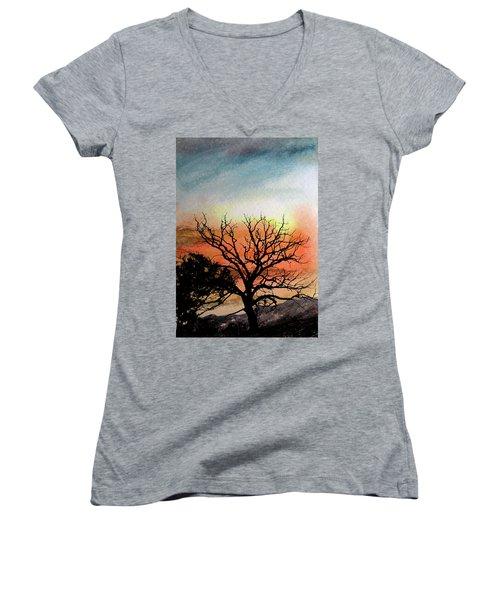 Cold Nightfall  Women's V-Neck T-Shirt (Junior Cut) by R Kyllo
