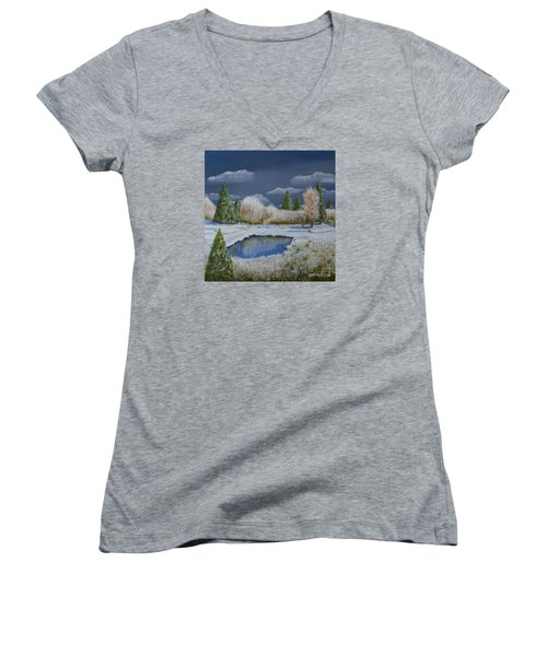 Cold Sky 1 Women's V-Neck T-Shirt (Junior Cut) by Melvin Turner