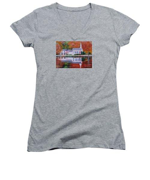 Cold Spring Harbor St Johns Church Women's V-Neck T-Shirt (Junior Cut) by Nereida Rodriguez