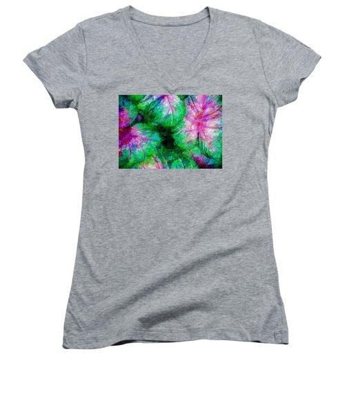 Coleus Women's V-Neck T-Shirt (Junior Cut) by Paul Wear