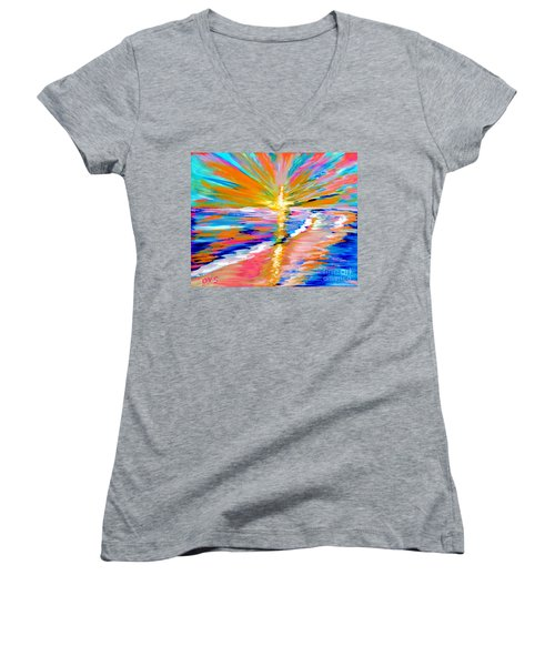 Collection Art For Health And Life. Painting 5. Energy  Of  Life Women's V-Neck (Athletic Fit)