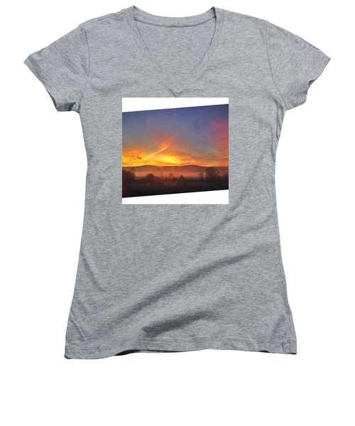 #college #sunrise #slant #crop #sun Women's V-Neck