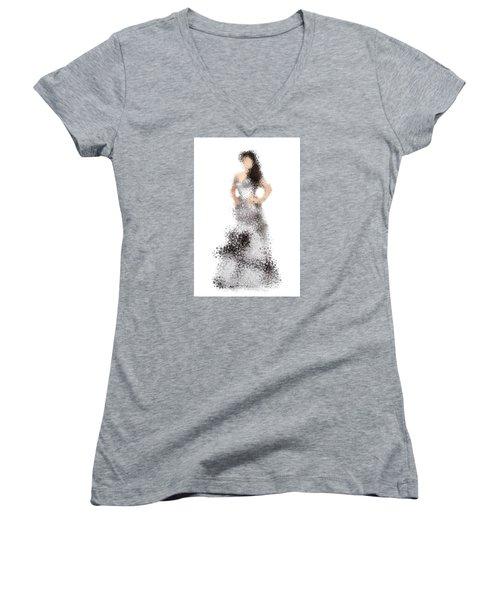 Women's V-Neck T-Shirt (Junior Cut) featuring the digital art Collette by Nancy Levan