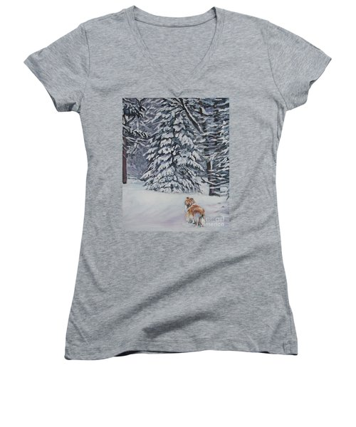 Collie Sable Christmas Tree Women's V-Neck T-Shirt (Junior Cut) by Lee Ann Shepard