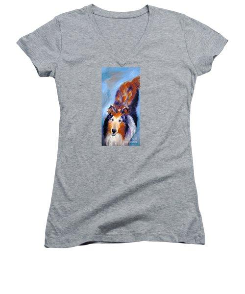 Collie Sable Rough 1 Women's V-Neck T-Shirt