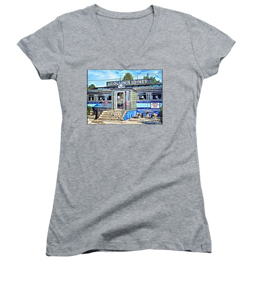 Collin's Diner New Canaan,conn Women's V-Neck T-Shirt (Junior Cut) by MaryLee Parker