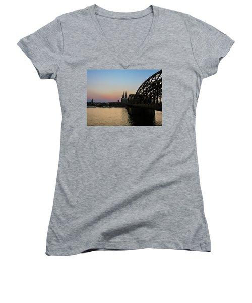 Cologne - Germany Women's V-Neck T-Shirt (Junior Cut) by Cesar Vieira