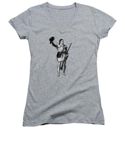 Colonel Davy Crockett Women's V-Neck T-Shirt (Junior Cut) by War Is Hell Store