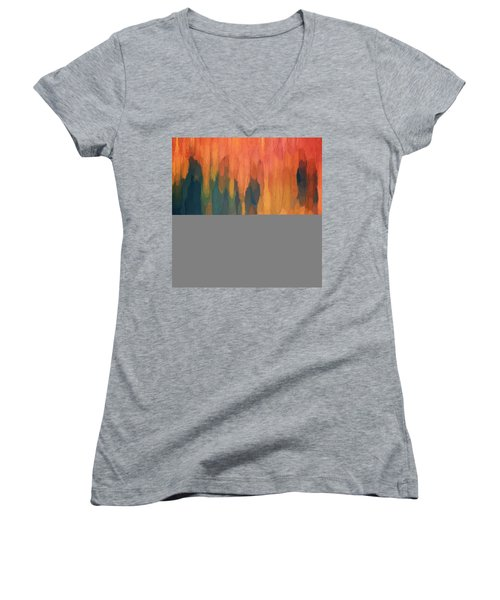 Women's V-Neck T-Shirt (Junior Cut) featuring the digital art Color Abstraction L Sq by David Gordon