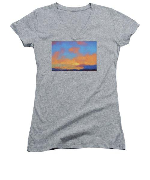 Women's V-Neck T-Shirt (Junior Cut) featuring the digital art Color Abstraction Lvii by David Gordon