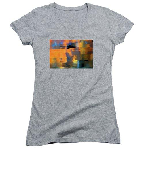 Color Abstraction Lxxii Women's V-Neck T-Shirt (Junior Cut) by David Gordon