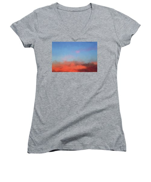 Women's V-Neck T-Shirt (Junior Cut) featuring the photograph Color Abstraction Xlvii - Sunset by David Gordon