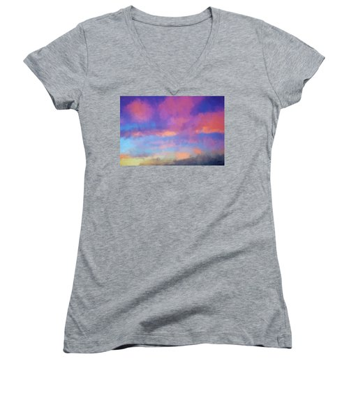Women's V-Neck T-Shirt (Junior Cut) featuring the digital art Color Abstraction Xlviii - Sunset by Dave Gordon