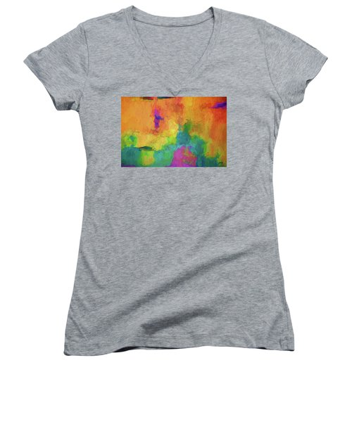 Color Abstraction Xxxiv Women's V-Neck T-Shirt (Junior Cut) by David Gordon