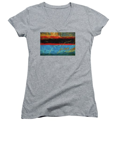 Women's V-Neck T-Shirt (Junior Cut) featuring the photograph Color Abstraction Xxxix by David Gordon