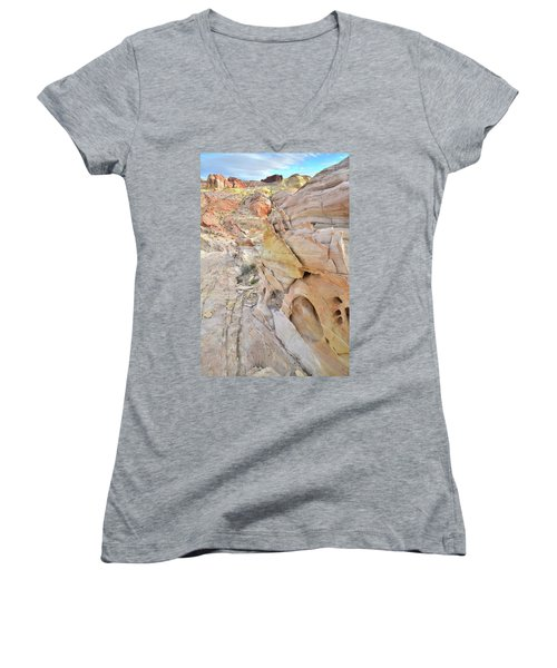 Color At Valley Of Fire State Park Women's V-Neck T-Shirt (Junior Cut) by Ray Mathis