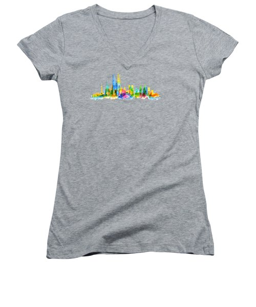 Color Barcelona Skyline 01 Women's V-Neck T-Shirt (Junior Cut) by Aloke Creative Store