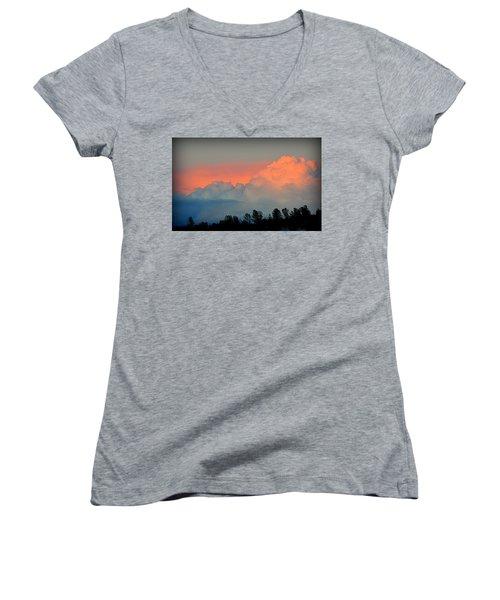 Women's V-Neck T-Shirt featuring the photograph Color Burst by AJ Schibig