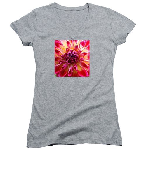 Color Burst Dahlia  Women's V-Neck T-Shirt