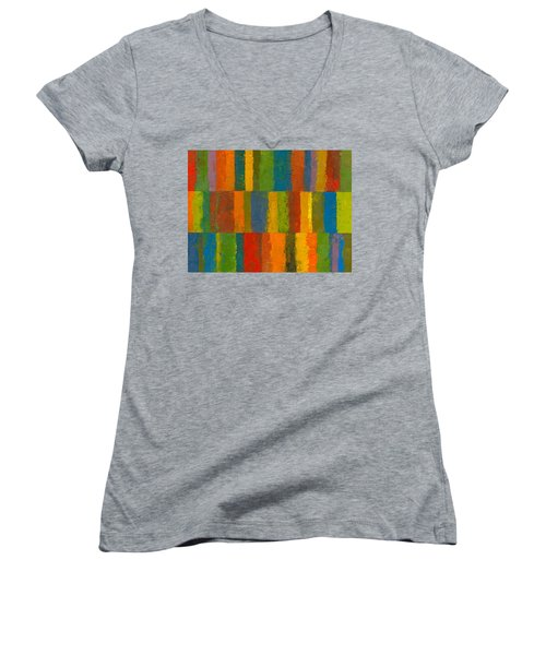 Women's V-Neck T-Shirt (Junior Cut) featuring the painting Color Collage With Stripes by Michelle Calkins