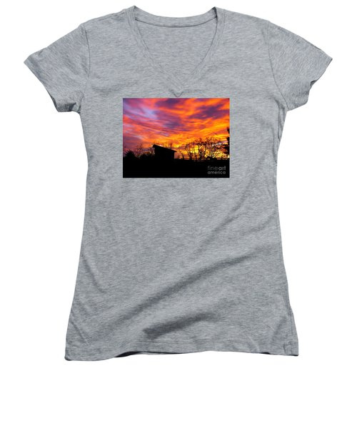 Color In The Sky Women's V-Neck T-Shirt