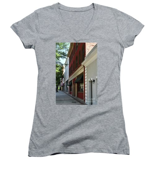Women's V-Neck T-Shirt (Junior Cut) featuring the photograph Color Me Main St Usa by Skip Willits